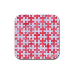 Puzzle1 White Marble & Red Watercolor Rubber Square Coaster (4 Pack)  by trendistuff