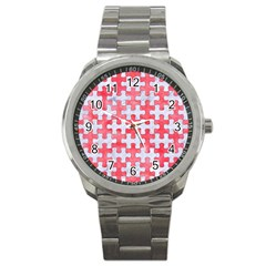 Puzzle1 White Marble & Red Watercolor Sport Metal Watch by trendistuff