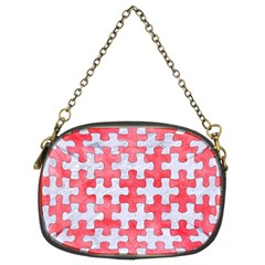 Puzzle1 White Marble & Red Watercolor Chain Purses (two Sides)  by trendistuff