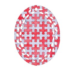 Puzzle1 White Marble & Red Watercolor Ornament (oval Filigree) by trendistuff