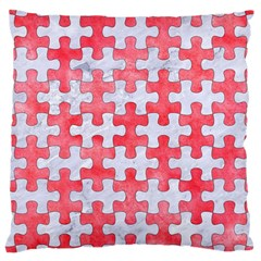 Puzzle1 White Marble & Red Watercolor Large Cushion Case (two Sides) by trendistuff