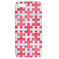 Puzzle1 White Marble & Red Watercolor Apple Iphone 5 Hardshell Case With Stand by trendistuff