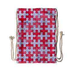 Puzzle1 White Marble & Red Watercolor Drawstring Bag (small) by trendistuff