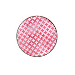 Houndstooth2 White Marble & Red Watercolor Hat Clip Ball Marker (10 Pack) by trendistuff