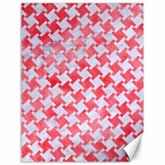 Houndstooth2 White Marble & Red Watercolor Canvas 12  X 16   by trendistuff