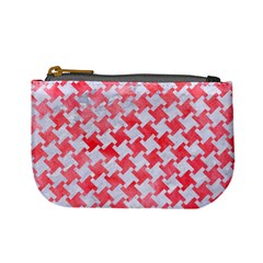 Houndstooth2 White Marble & Red Watercolor Mini Coin Purses by trendistuff