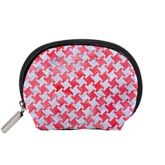 Houndstooth2 White Marble & Red Watercolor Accessory Pouches (small)  by trendistuff