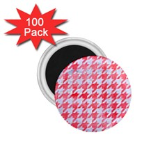 Houndstooth1 White Marble & Red Watercolor 1 75  Magnets (100 Pack)  by trendistuff