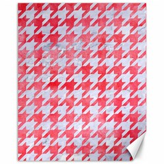 Houndstooth1 White Marble & Red Watercolor Canvas 11  X 14   by trendistuff