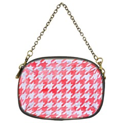Houndstooth1 White Marble & Red Watercolor Chain Purses (two Sides)  by trendistuff