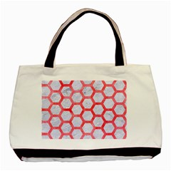 Hexagon2 White Marble & Red Watercolor (r) Basic Tote Bag (two Sides) by trendistuff