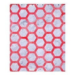 Hexagon2 White Marble & Red Watercolor (r) Shower Curtain 60  X 72  (medium)  by trendistuff