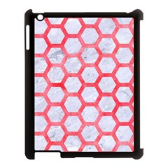 Hexagon2 White Marble & Red Watercolor (r) Apple Ipad 3/4 Case (black) by trendistuff