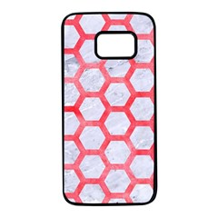 Hexagon2 White Marble & Red Watercolor (r) Samsung Galaxy S7 Black Seamless Case by trendistuff