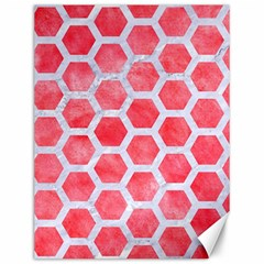 Hexagon2 White Marble & Red Watercolor Canvas 12  X 16   by trendistuff
