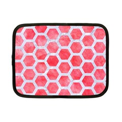 Hexagon2 White Marble & Red Watercolor Netbook Case (small)  by trendistuff