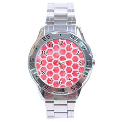 Hexagon2 White Marble & Red Watercolor Stainless Steel Analogue Watch by trendistuff