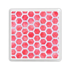 Hexagon2 White Marble & Red Watercolor Memory Card Reader (square)  by trendistuff