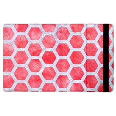 Hexagon2 White Marble & Red Watercolor Apple Ipad 2 Flip Case by trendistuff