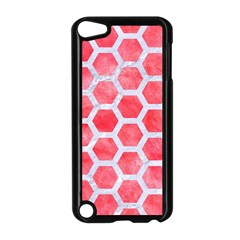 Hexagon2 White Marble & Red Watercolor Apple Ipod Touch 5 Case (black) by trendistuff