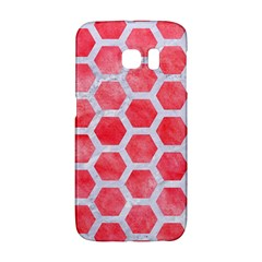 Hexagon2 White Marble & Red Watercolor Galaxy S6 Edge by trendistuff