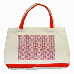 Hexagon1 White Marble & Red Watercolor (r) Classic Tote Bag (red)