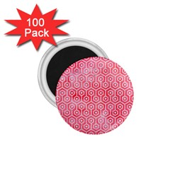 Hexagon1 White Marble & Red Watercolor 1 75  Magnets (100 Pack)  by trendistuff
