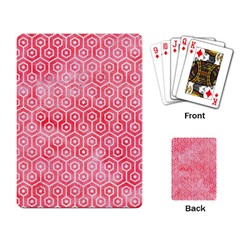 Hexagon1 White Marble & Red Watercolor Playing Card