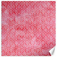 Hexagon1 White Marble & Red Watercolor Canvas 16  X 16   by trendistuff