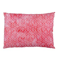 Hexagon1 White Marble & Red Watercolor Pillow Case by trendistuff