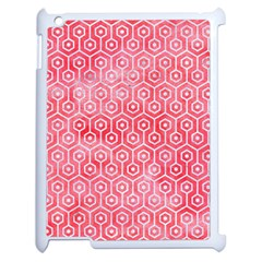 Hexagon1 White Marble & Red Watercolor Apple Ipad 2 Case (white) by trendistuff
