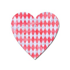 Diamond1 White Marble & Red Watercolor Heart Magnet