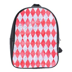 Diamond1 White Marble & Red Watercolor School Bag (large) by trendistuff