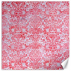 Damask2 White Marble & Red Watercolor (r) Canvas 12  X 12   by trendistuff