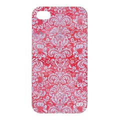Damask2 White Marble & Red Watercolor Apple Iphone 4/4s Premium Hardshell Case by trendistuff