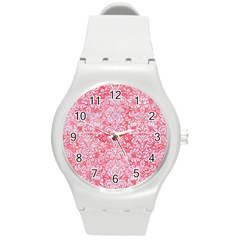 Damask2 White Marble & Red Watercolor Round Plastic Sport Watch (m) by trendistuff
