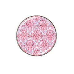 Damask1 White Marble & Red Watercolor (r) Hat Clip Ball Marker by trendistuff
