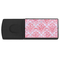 Damask1 White Marble & Red Watercolor (r) Rectangular Usb Flash Drive by trendistuff