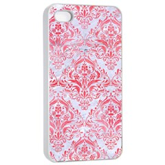 Damask1 White Marble & Red Watercolor (r) Apple Iphone 4/4s Seamless Case (white) by trendistuff