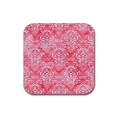 Damask1 White Marble & Red Watercolor Rubber Square Coaster (4 Pack)  by trendistuff