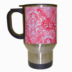 Damask1 White Marble & Red Watercolor Travel Mugs (white) by trendistuff