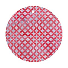 Circles3 White Marble & Red Watercolor (r) Round Ornament (two Sides) by trendistuff