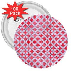 Circles3 White Marble & Red Watercolor 3  Buttons (100 Pack)  by trendistuff
