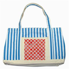 Circles2 White Marble & Red Watercolor (r) Striped Blue Tote Bag by trendistuff