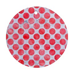 Circles2 White Marble & Red Watercolor (r) Round Ornament (two Sides) by trendistuff