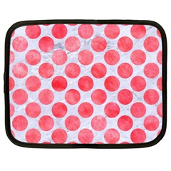 Circles2 White Marble & Red Watercolor (r) Netbook Case (xl)  by trendistuff