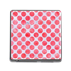 Circles2 White Marble & Red Watercolor (r) Memory Card Reader (square) by trendistuff