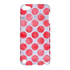 Circles2 White Marble & Red Watercolor (r) Apple Ipod Touch 5 Hardshell Case by trendistuff