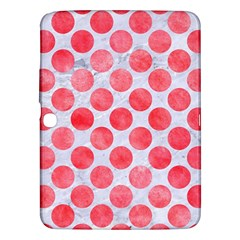 Circles2 White Marble & Red Watercolor (r) Samsung Galaxy Tab 3 (10 1 ) P5200 Hardshell Case  by trendistuff