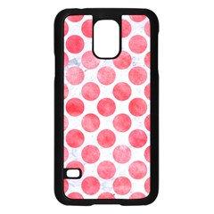 Circles2 White Marble & Red Watercolor (r) Samsung Galaxy S5 Case (black) by trendistuff